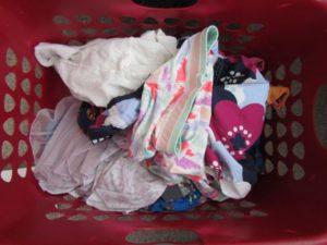 laundry basket with child laundry