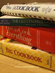 stack of cookbooks for meal planning