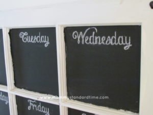 meal planning chalkboard close up
