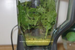 spinach and orange juice in blender or green smoothie