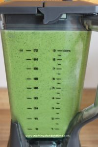blending spinach and orange juice after one minute