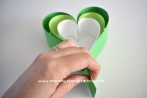 creating paper heart for shamrock