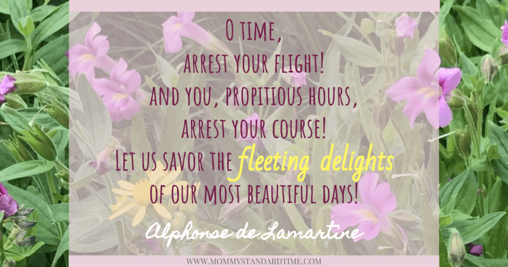 Alphonse de Lamartine quote - O time, arrest your flight! And you, propitious hours, arrest your course!  Let us savor the fleeting delights of our most beautiful days!
