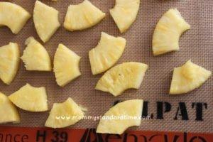 freezing pineapple on cookie sheet