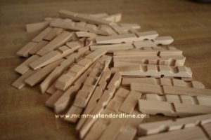 separated clothes pins for wooden snowflake ornaments