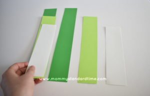 Stacking paper strips for paper shamrocks