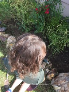 mini-me weeding flower bed