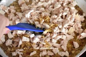 adding chicken to gluten free rice-a-roni