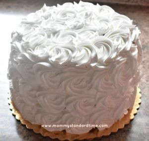 wedding cake with rosettes