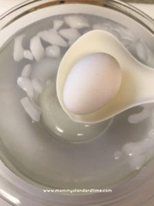 putting Instant Pot hard boiled eggs in ice bath