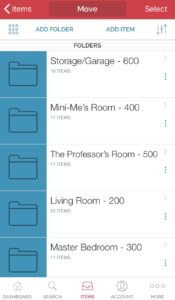 sortly folders for rooms