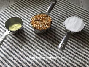 Kettle corn ingredients - Oil, popcorn kernels, and sugar